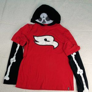Tony Hawk Red/Black  Skeleton Hoodie Youth X-Large